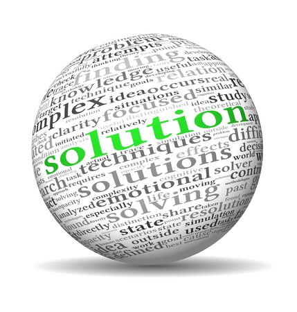 Solution concept in word tag cloud on 3d sphere Stock Photo - 14475106