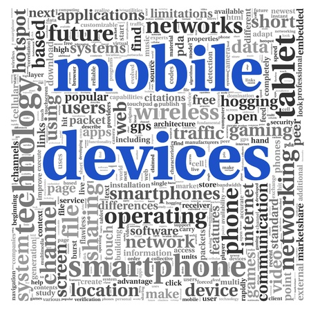 mobile device: Mobile devices concept in tag cloud on white background