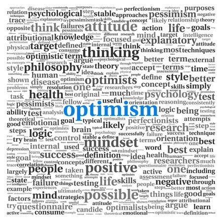 optimismo: El optimismo concepto en nube de palabra de la etiqueta en el fondo blanco