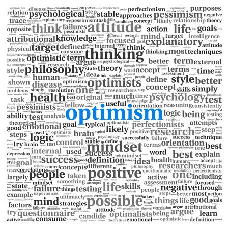 positive thinking: Optimism concept in word tag cloud on white background