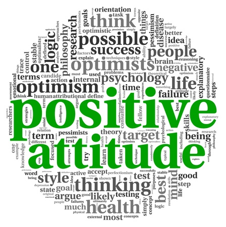 positive thinking: Positive attitude concept in word tag cloud on white background Stock Photo