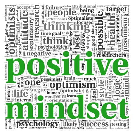 optimismo: Concepto de actitud positiva en la nube de palabra de la etiqueta en el fondo blanco Foto de archivo