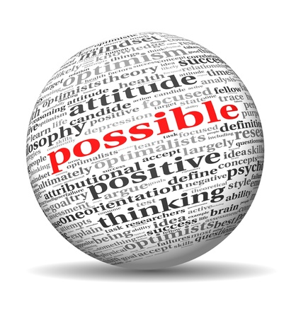 optimism: Possible concept in word tag cloud of 3d sphere shape
