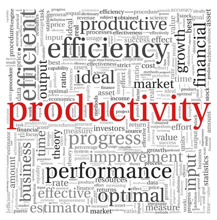Productivity concept in word tag cloud on white background photo