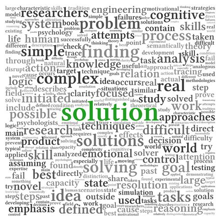 Solution concept in word tag cloud on white background Stock Photo - 14613813