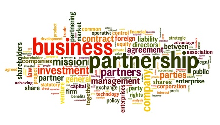 Business partnership concept in tag cloud on white Stock Photo