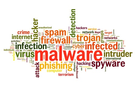computer hacker: Malware concept in word tag cloud on white background Stock Photo