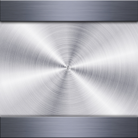 brushed: Background of brushed metal plate with reflections in circular shape