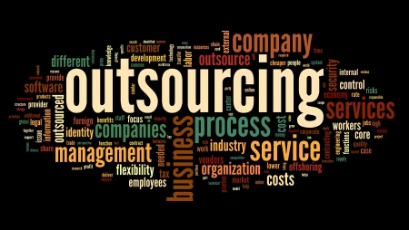 outsourcing: Outsourcing concept in word tag cloud on black background