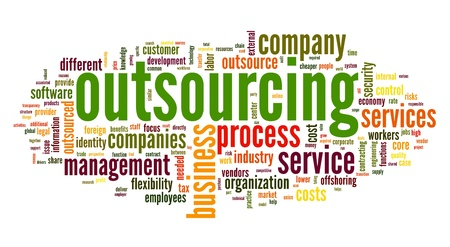 outsourcing: Outsourcing concept in word tag cloud on white background Stock Photo