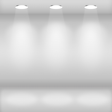 store display: Spotlights in gallery interior with empty wall
