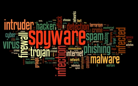 spyware: Spyware concept in word tag cloud on black background Stock Photo