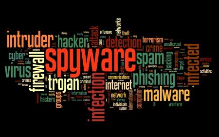 virus informatico: Spyware concepto en la nube de palabra de la etiqueta sobre fondo negro Foto de archivo