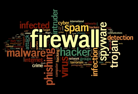 firewall: Firewall concept in word tag cloud on black background Stock Photo