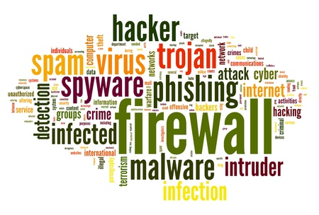 Firewall concept in word tag cloud on white background Stock Photo - 14855634