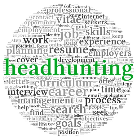 headhunting: Headhunting concept in word tag cloud on white background Stock Photo