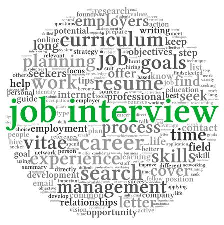 executive search: Job interview concept in word tag cloud on white background Stock Photo