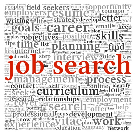 Job search concept in word tag cloud on white background photo