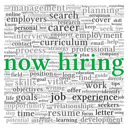Now hiring and job search concept in word tag cloud on white background photo