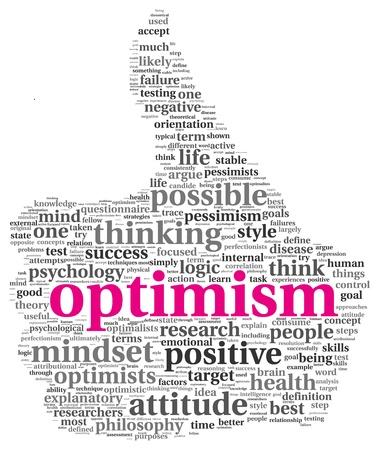 optimismo: Optimismo concepto en nube de la palabra etiqueta de pulgar hacia arriba signo