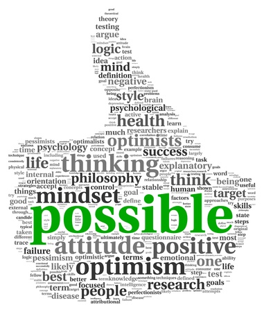 positive positivity: Possible concept in word tag cloud of thumb up shape