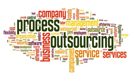 Process outsourcing concept in word tag cloud on white background Stock Photo - 14855635