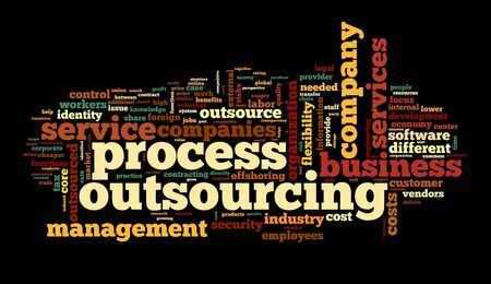 outsourcing: Process outsourcing concept in word tag cloud on black background
