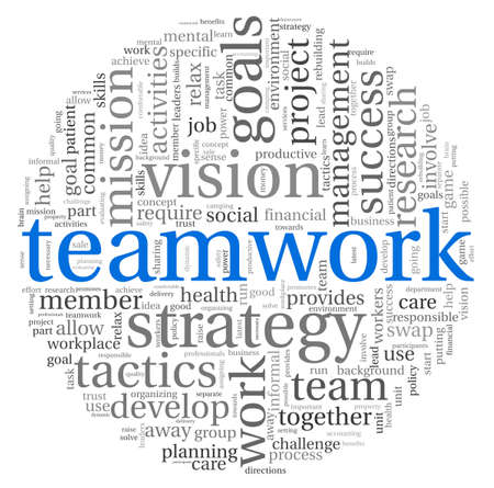 business partnership: Teamwork and strategy concept in word tag cloud Stock Photo