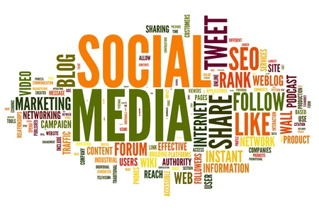 Social media concept in word tag cloud on white Stock Photo - 14855636