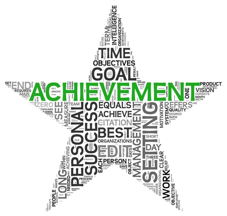 Achievement and success concept related words in tag cloud isolated on white in star shape photo