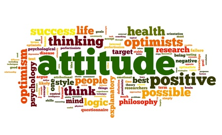 optimist: Attitude concept in word tag cloud on white background Stock Photo