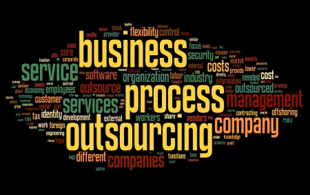 outsourcing: Business process outsourcing concept in word tag cloud on black background