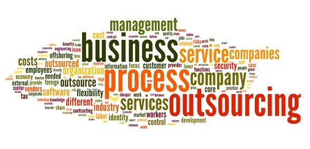 Business process outsourcing concept in word tag cloud on white background Stock Photo