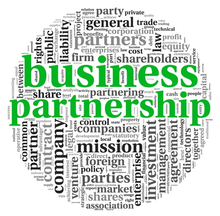 Business partnership concept in tag cloud on white photo