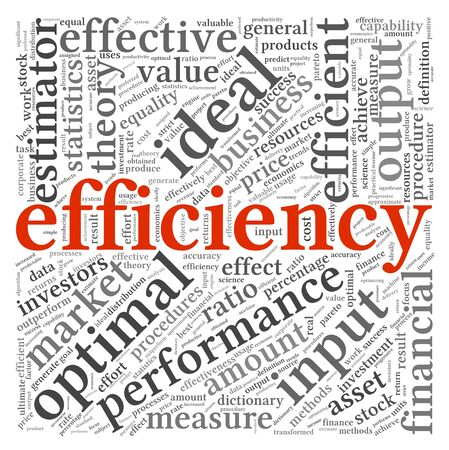 input output: Efficiency concept in word tag cloud on white background