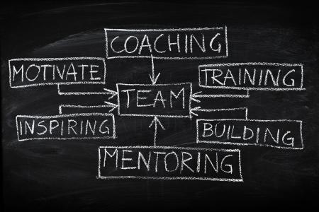 gestion empresarial: Construcción de equipo y entrenamiento gráfico de flujo en la pizarra Foto de archivo