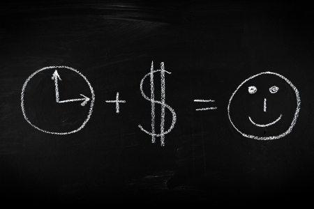 sign equals: Money and time is everithing you need - concept illustrated on chalkboard