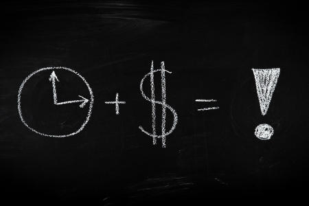sign equals: Money and time is success - concept illustrated on chalkboard