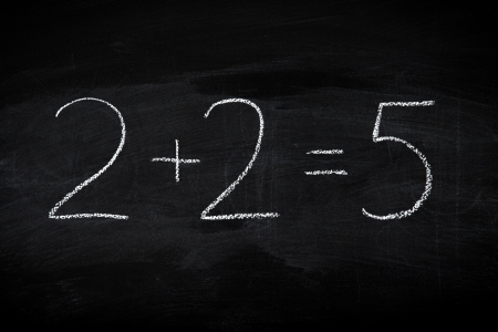 equals: Mistake in math formula on chalkboard - education concept illustrated on blackboard
