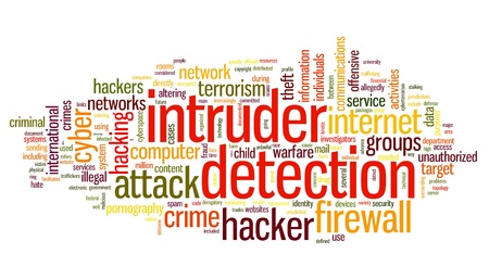 computer hacker: Intruder detection concept in word tag cloud on white background Stock Photo