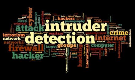Intruder detection concept in word tag cloud on black background photo