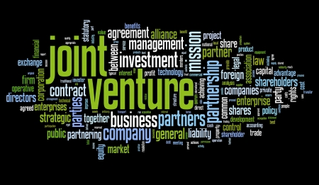 venture: Joint venture concept in tag cloud on black background