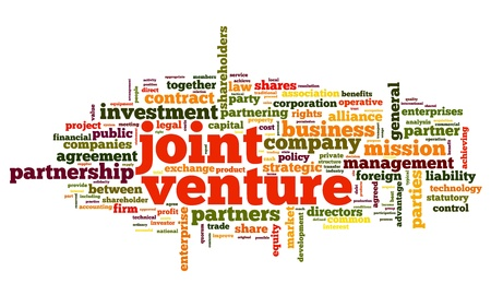 Joint venture concept in tag cloud on white background photo