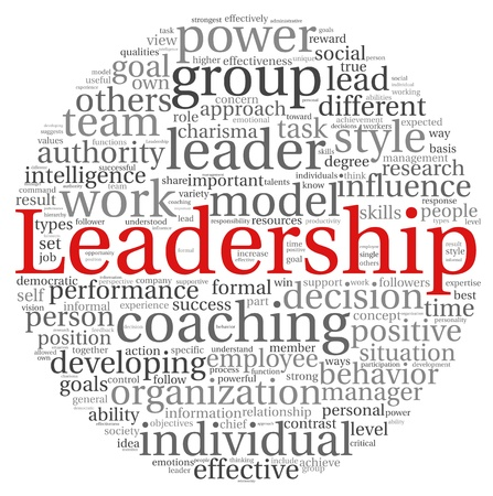 Leadership concept in word tag cloud on white background photo