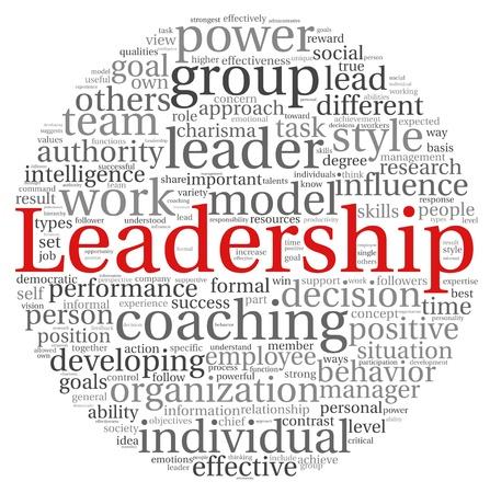 Leiderschap concept in woord tag cloud op een witte achtergrond