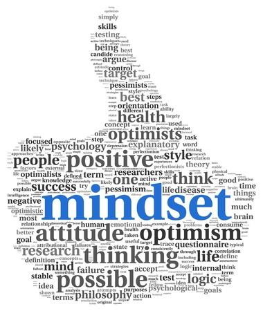optimismo: Mindset concepto en nube de la palabra etiqueta de pulgar forma Foto de archivo