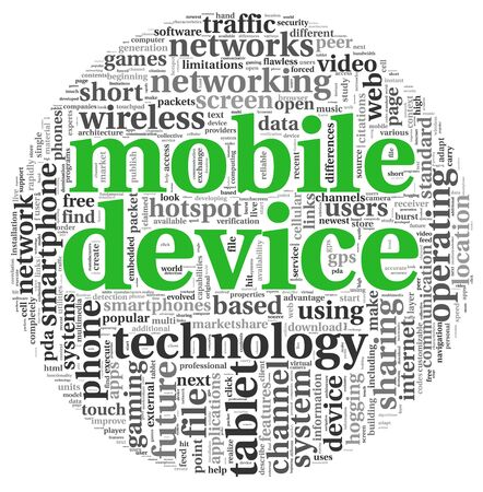 Mobile devices concept in tag cloud on white background photo