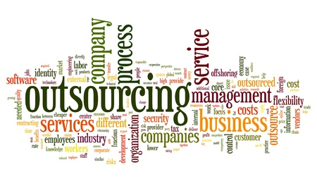 Outsourcing concept in word tag cloud on white background photo