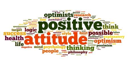 actitud positiva: Concepto Actitud positiva en la nube de palabra de la etiqueta en el fondo blanco