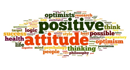 optimist: Positive attitude concept in word tag cloud on white background Stock Photo